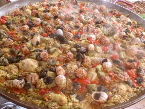 cooking paella campesina catering