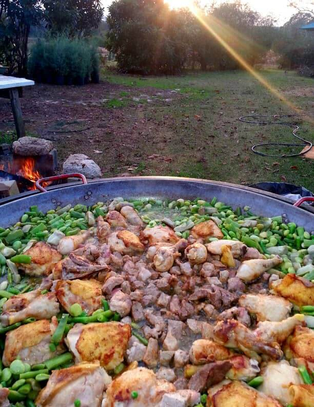 Cooking paella at the Christmas Tree Farm