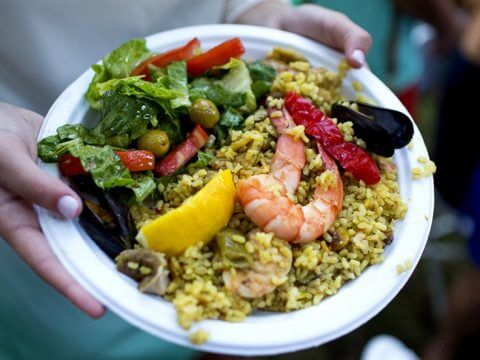 Salad and paella catering