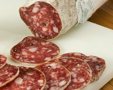 Dry-cured sausage with black pepper.
