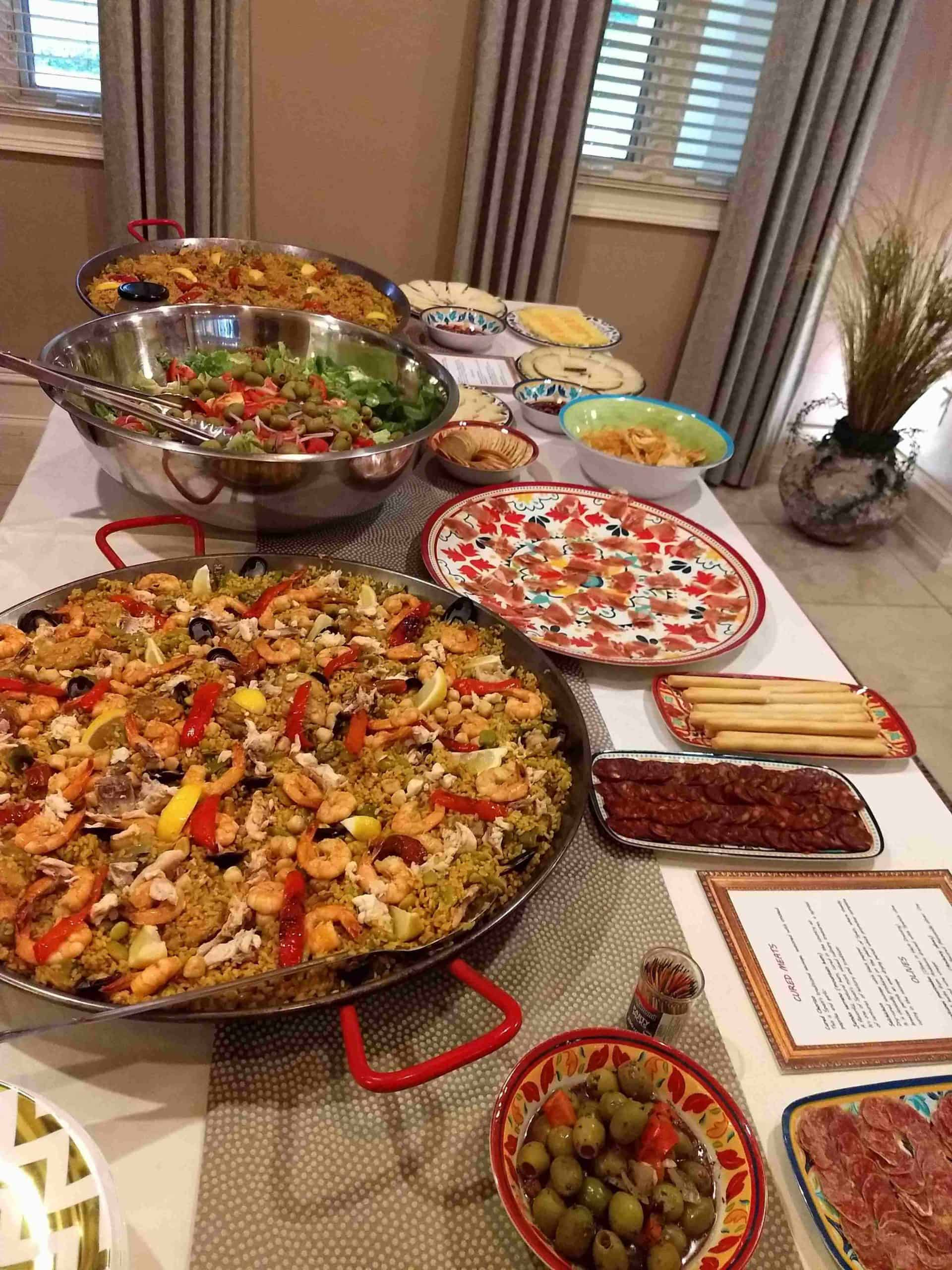 Paella, salad and tapas